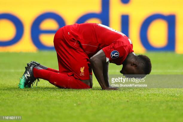 Sadio Mane of Liverpool celebrates scoring a goal to make the score 11 during the UEFA Super Cup match between Liverpool and Chelsea at Vodafone Park...