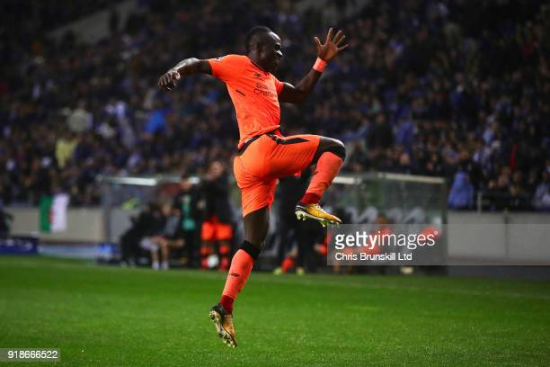 Sadio Mane of Liverpool celebrates scoring his side's fifth goal during the UEFA Champions League Round of 16 First Leg match between FC Porto and...