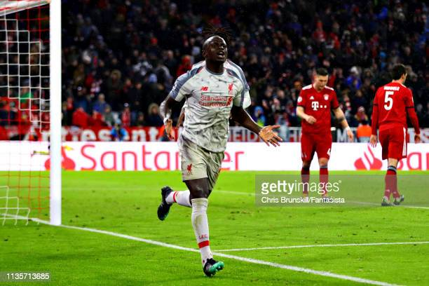 Sadio Mane of Liverpool celebrates scoring his sides third goal during the UEFA Champions League Round of 16 Second Leg match between FC Bayern...