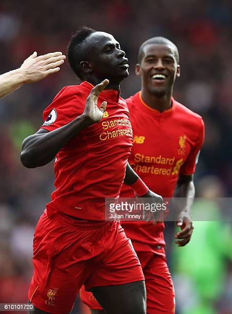 Sadio Mane of Liverpool celebrates scoring his sides third goal during the Premier League match between Liverpool and Hull City at Anfield on...