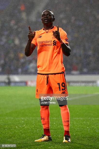Sadio Mane of Liverpool celebrates scoring the 3rd goal during the UEFA Champions League Round of 16 First Leg match between FC Porto and Liverpool...