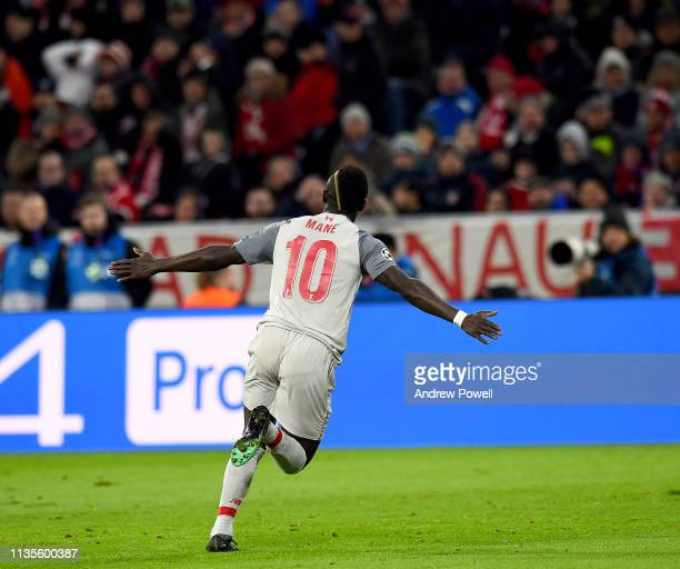 Sadio Mane of Liverpool celebrates the first goal during the UEFA Champions League Round of 16 Second Leg match between FC Bayern Muenchen and...
