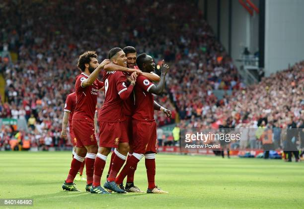 Sadio Mane of Liverpool celebrates the second during the Premier League match between Liverpool and Arsenal at Anfield on August 27 2017 in Liverpool...