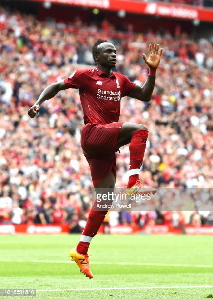 Sadio Mane of Liverpool celebrates the second goal during the Premier League match between Liverpool FC and West Ham United at Anfield on August 12...