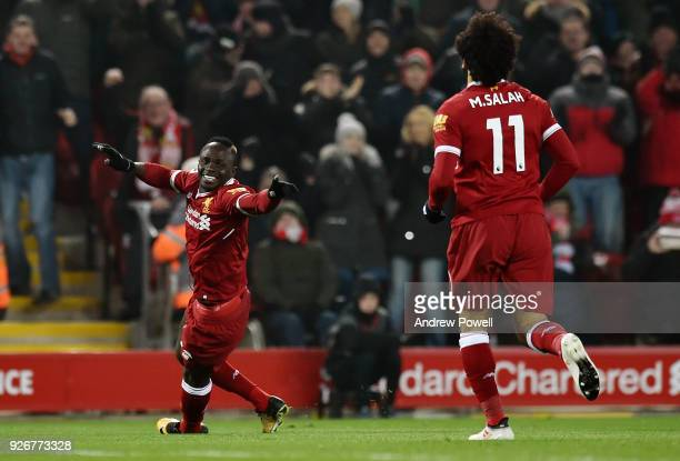 Sadio Mane of Liverpool celebrates the second goal during the Premier League match between Liverpool and Newcastle United at Anfield on March 3 2018...