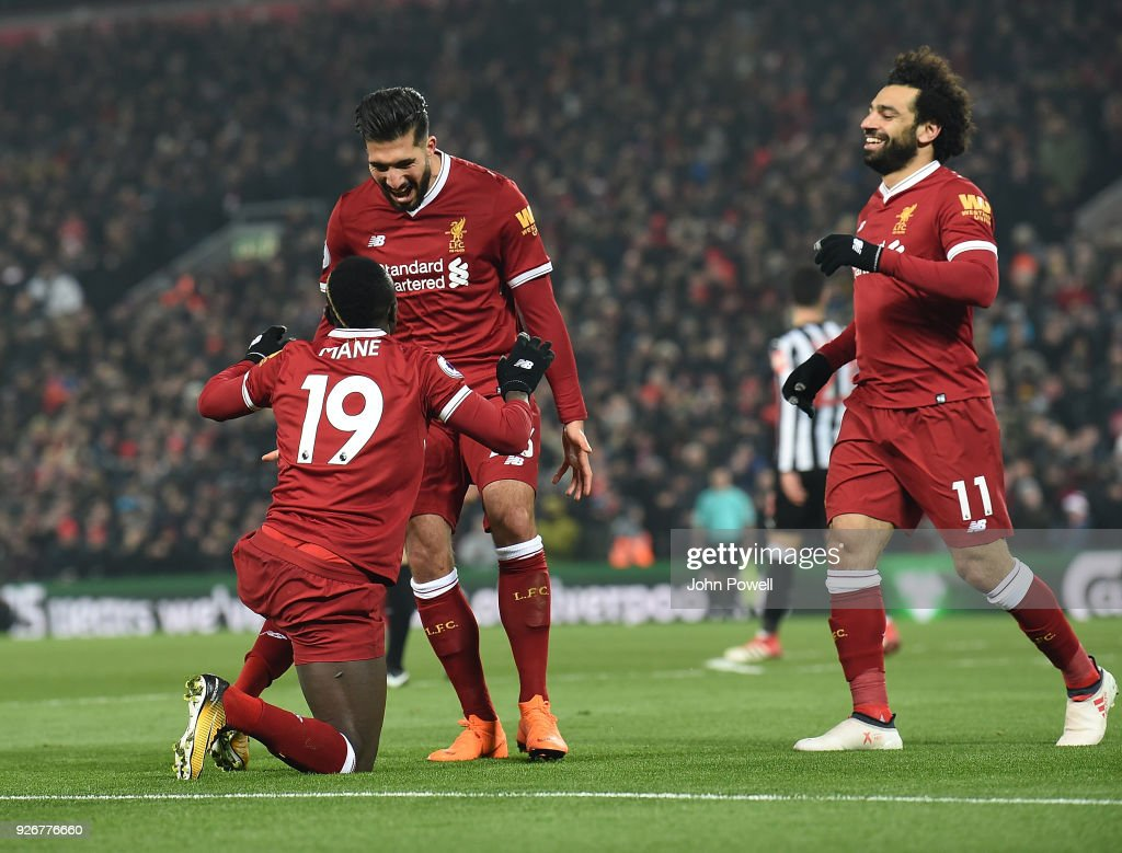 Sadio Mane of Liverpool celebrates the second goal during the Premier League match between Liverpool and Newcastle United at Anfield on March 3, 2018 in Liverpool, England.
