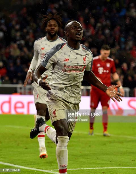 Sadio Mane of Liverpool Celebrates the third goal during the UEFA Champions League Round of 16 Second Leg match between FC Bayern Muenchen and...