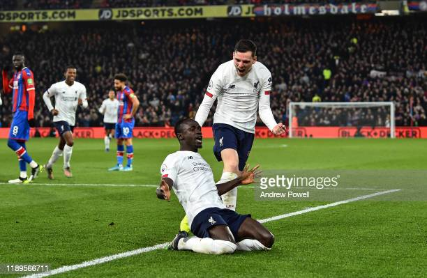 Sadio Mane of Liverpool celebrating after scoring a goal during the Premier League match between Crystal Palace and Liverpool FC at Selhurst Park on...