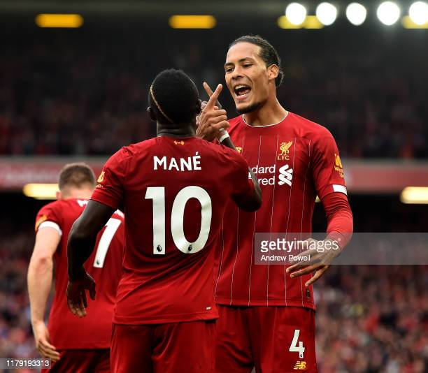 Sadio Mane of Liverpool celebrating after scoring the opening goal during the Premier League match between Liverpool FC and Leicester City at Anfield...