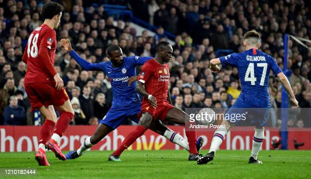 Sadio Mane of Liverpool competing with Antonio Rudiger of Chelsea during the FA Cup Fifth Round match between Chelsea FC and Liverpool FC at Stamford...