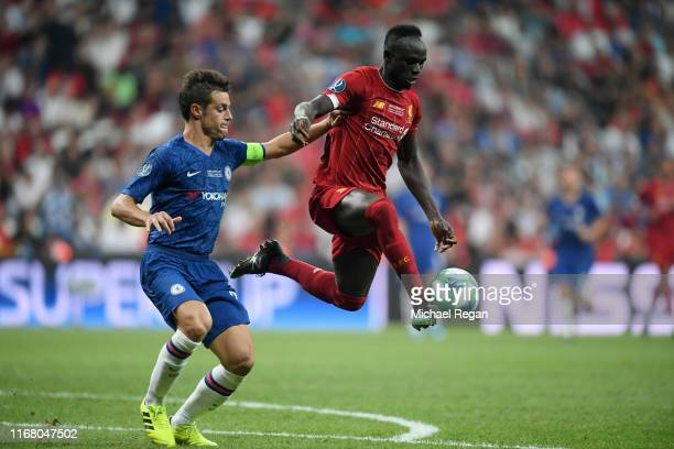 Sadio Mane of Liverpool controls the ball from Cesar Azpilicueta of Chelsea during the UEFA Super Cup match between Liverpool and Chelsea at Vodafone...