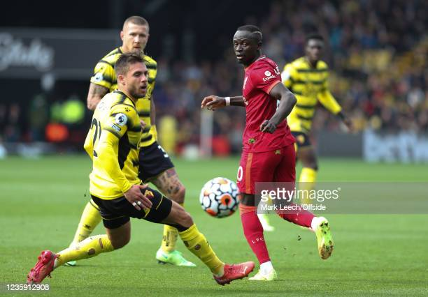 Sadio Mane of Liverpool deceives the Watford defence by back heeling the ball during the Premier League match between Watford and Liverpool at...