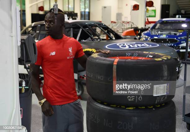 Ben Woodburn of Liverpool changing tyres during the tour of Roush Fenway Racing on July 21 2018 in Charlotte North Carolina