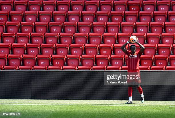 Sadio Mane of Liverpool during a training session at Anfield on June 01 2020 in Liverpool England