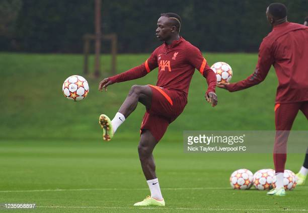 Sadio Mane of Liverpool during a training session at AXA Training Centre on October 18, 2021 in Kirkby, England.