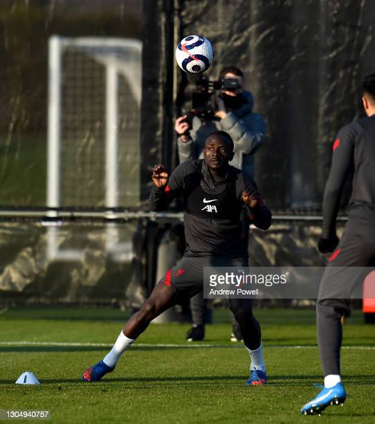 Sadio Mane of Liverpool during a training session at AXA Training Centre on March 02, 2021 in Kirkby, England.