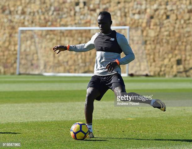 Sadio Mane of Liverpool during a training session at Marbella Football Center on February 17 2018 in Marbella Spain