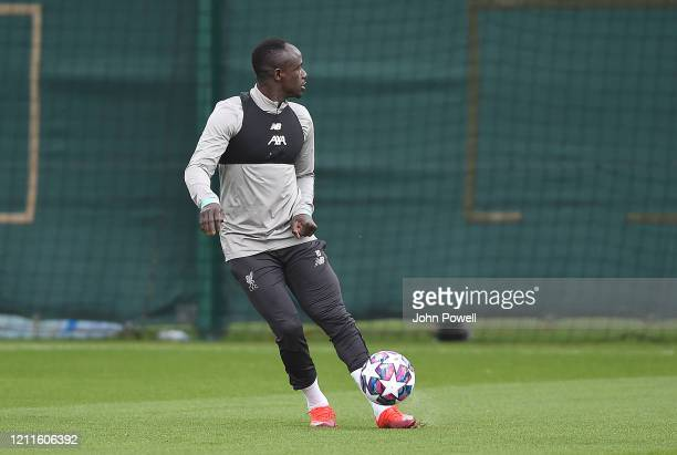 Sadio Mane of Liverpool during a training session at Melwood on March 10 2020 in Liverpool United Kingdom Liverpool FC will face Atletico Madrid in...