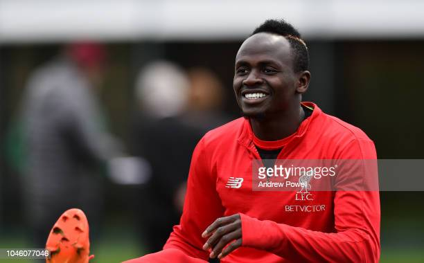 Sadio Mane of Liverpool during a training session at Melwood Training Ground on October 5 2018 in Liverpool England