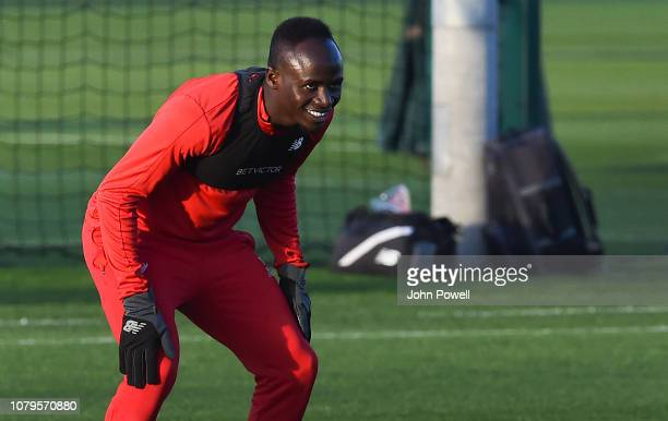Sadio Mane of Liverpool during a training session at Melwood Training Ground on January 9 2019 in Liverpool England