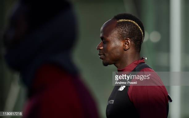 Sadio Mane of Liverpool during a training session at Melwood training ground on February 18 2019 in Liverpool England