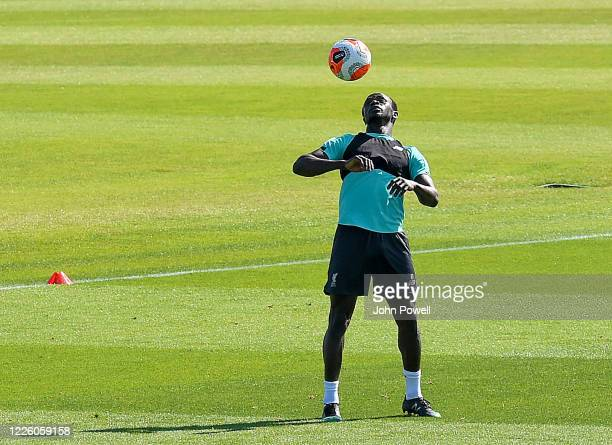 Sadio Mane of Liverpool during a training session at Melwood Training Ground on May 20 2020 in Liverpool England