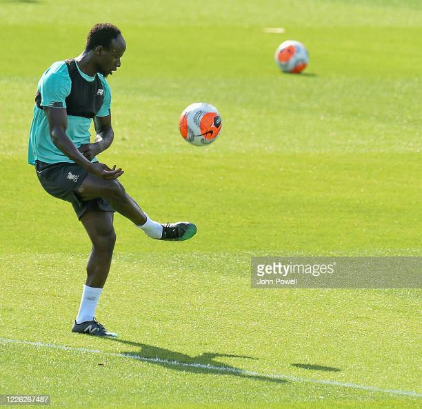 Sadio Mane of Liverpool during a training session at Melwood Training Ground on May 21 2020 in Liverpool England