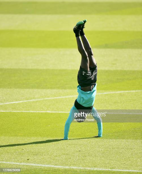 Sadio Mane of Liverpool during a training session at Melwood Training Ground on May 23 2020 in Liverpool England
