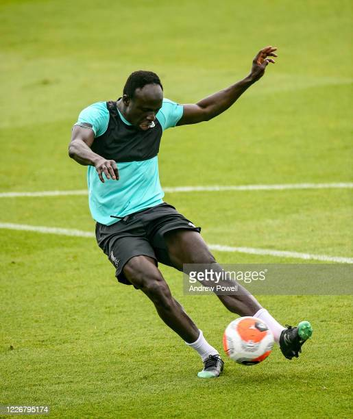 Sadio Mane of Liverpool during a training session at Melwood Training Ground on May 24 2020 in Liverpool England