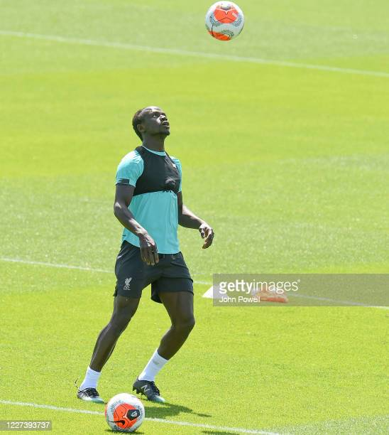 Sadio Mane of Liverpool during a training session at Melwood Training Ground on May 27 2020 in Liverpool England