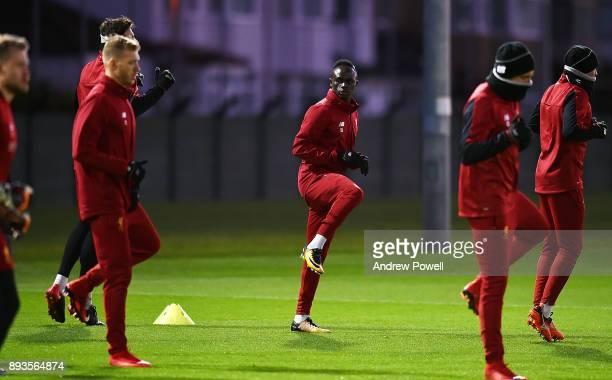 Sadio Mane of Liverpool during a training session at Melwood Training Ground on December 15 2017 in Liverpool England
