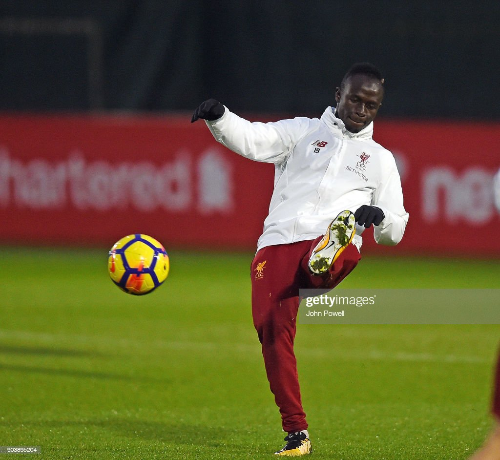 Sadio Mane of Liverpool during a training session at Melwood Training Ground on January 11, 2018 in Liverpool, England.
