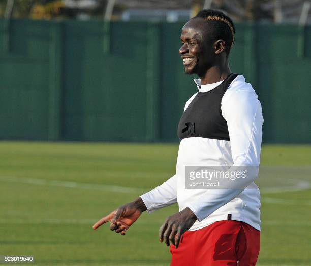 Sadio Mane of Liverpool during a training session at Melwood Training Ground on February 22 2018 in Liverpool England