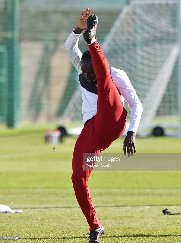 Sadio Mane of Liverpool during a training session at Melwood Training Ground on March 8, 2018 in Liverpool, England.