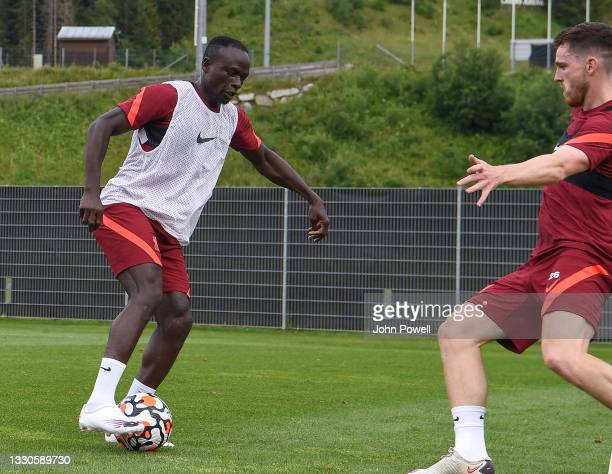 Sadio Mane of Liverpool during a training session on July 25, 2021 in UNSPECIFIED, Austria.