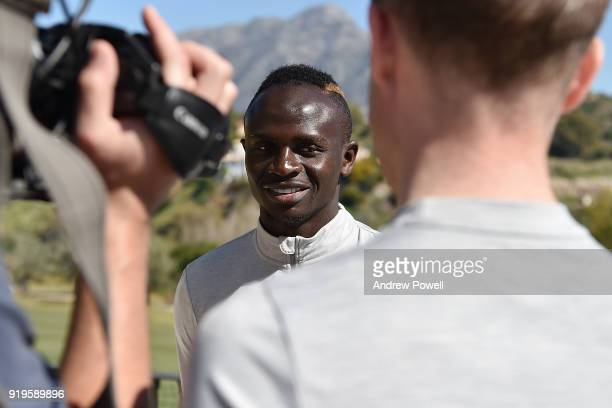 Sadio Mane of Liverpool during an interview after a training session at Marbella Football Center on February 17 2018 in Marbella Spain