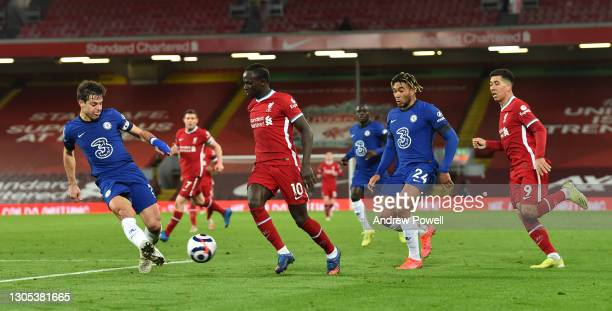 Sadio Mane of Liverpool during the Premier League match between Liverpool and Chelsea at Anfield on March 04, 2021 in Liverpool, England. Sporting...