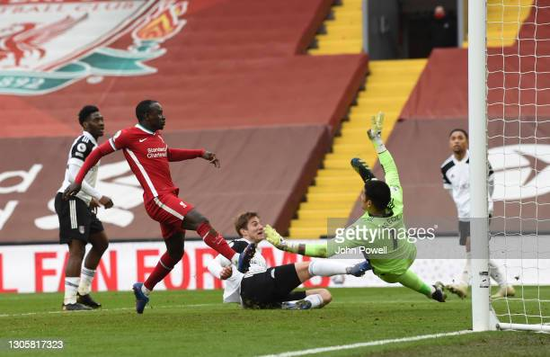 Sadio Mane of Liverpool during the Premier League match between Liverpool and Fulham at Anfield on March 07, 2021 in Liverpool, England. Sporting...