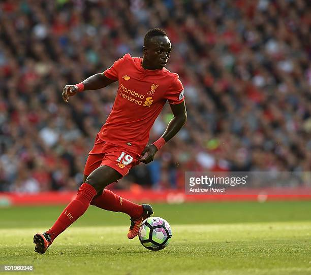 Sadio Mane of Liverpool during the Premier League match between Liverpool and Leicester City at Anfield on September 10 2016 in Liverpool England