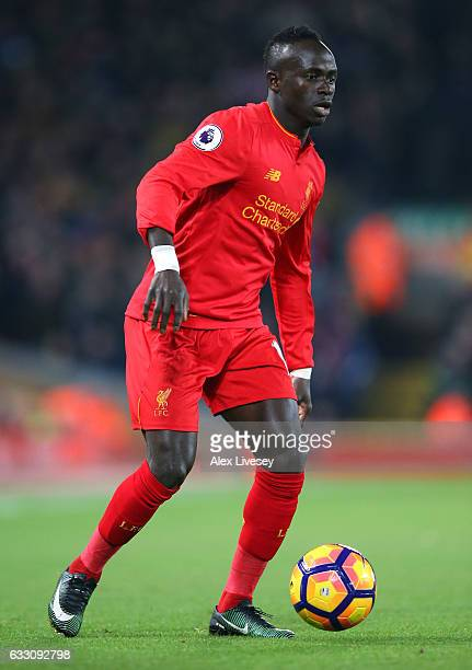 Sadio Mane of Liverpool during the Premier League match between Liverpool and Stoke City at Anfield on December 27 2016 in Liverpool England