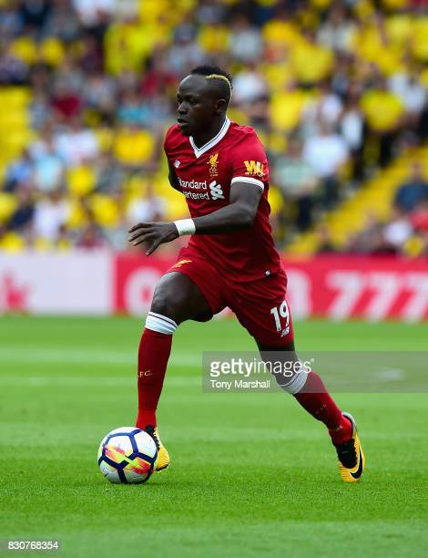 Sadio Mane of Liverpool during the Premier League match between Watford and Liverpool at Vicarage Road on August 12 2017 in Watford England