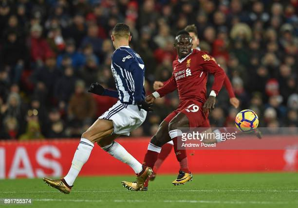 Sadio Mane of Liverpool during the Premier League match between Liverpool and West Bromwich Albion at Anfield on December 13 2017 in Liverpool England