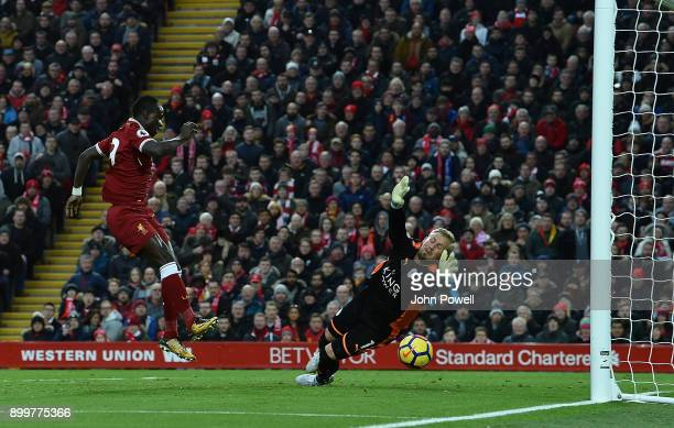 Sadio Mane of Liverpool during the Premier League match between Liverpool and Leicester City at Anfield on December 30 2017 in Liverpool England
