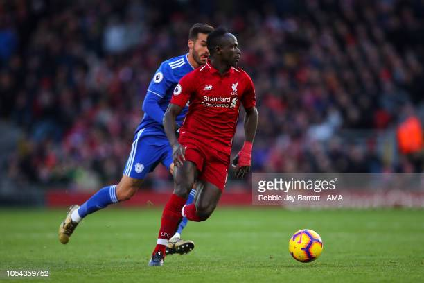 Sadio Mane of Liverpool during the Premier League match between Liverpool FC and Cardiff City at Anfield on October 27 2018 in Liverpool United...