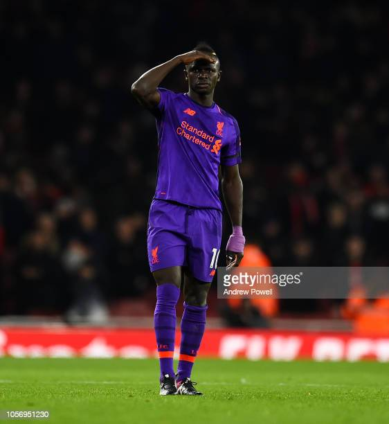 Sadio Mane of Liverpool during the Premier League match between Arsenal FC and Liverpool FC at Emirates Stadium on November 3 2018 in London United...