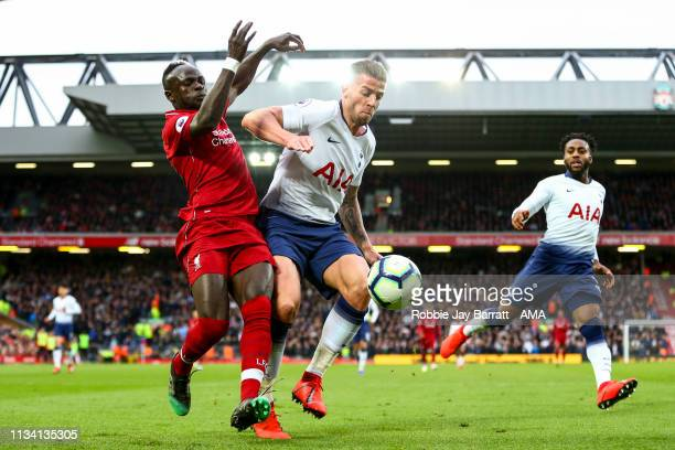 Sadio Mane of Liverpool during the Premier League match between Liverpool FC and Tottenham Hotspur at Anfield on March 31 2019 in Liverpool United...
