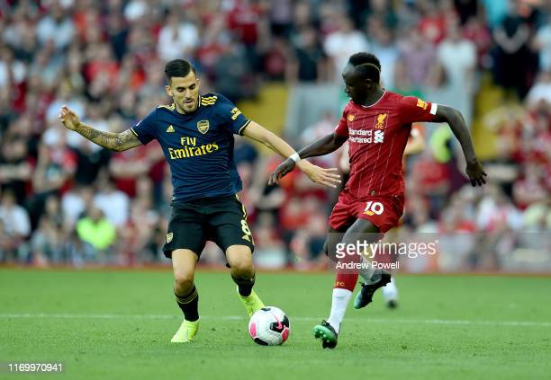 Sadio Mane of Liverpool during the Premier League match between Liverpool FC and Arsenal FC at Anfield on August 24 2019 in Liverpool United Kingdom