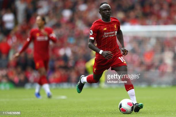 Sadio Mane of Liverpool during the Premier League match between Liverpool FC and Newcastle United at Anfield on September 14 2019 in Liverpool United...
