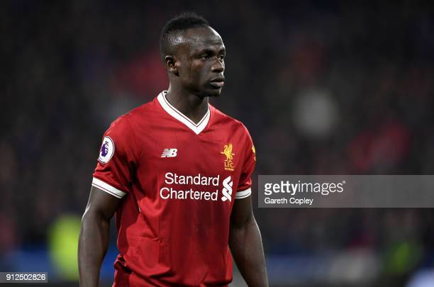 Sadio Mane of Liverpool during the Premier League match between Huddersfield Town and Liverpool at John Smith's Stadium on January 30 2018 in...