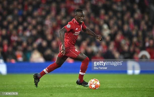 Sadio Mane of Liverpool during the UEFA Champions League Round of 16 First Leg match between Liverpool and FC Bayern Munich at Anfield on February 19...
